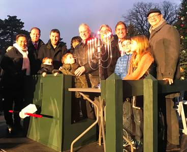 Menorah Lighting and Holiday Train Show at the New York Botanical Gardens Sunday December 3rd . Pictured from left to right are Senator Marisol Alcantara, Assemblyman Mark Gjonaj, Eric Dinowitz, Assem