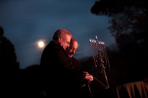 Assemblyman Jeffrey Dinowitz and Congressman Eliot Engel led the annual Chanukah Menorah Lighting at the Bronx Botanical Gardens.