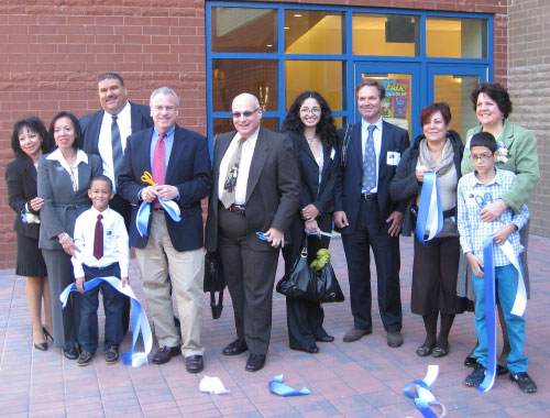 Assemblyman Jeffrey Dinowitz joined in celebrating the opening of the PS 94 Annex in Norwood. He is shown here with students, teachers, and other Department of Education personnel at the ribbon cutting.