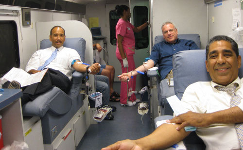 Local elected officials gave their blood at a local blood drive. State Senator Elect Adriano Espaillat, Bronx Borough President Ruben Diaz Jr., and Assemblyman Jeffrey Dinowitz are shown here donating their blood at the Riverdale Neighborhood House.