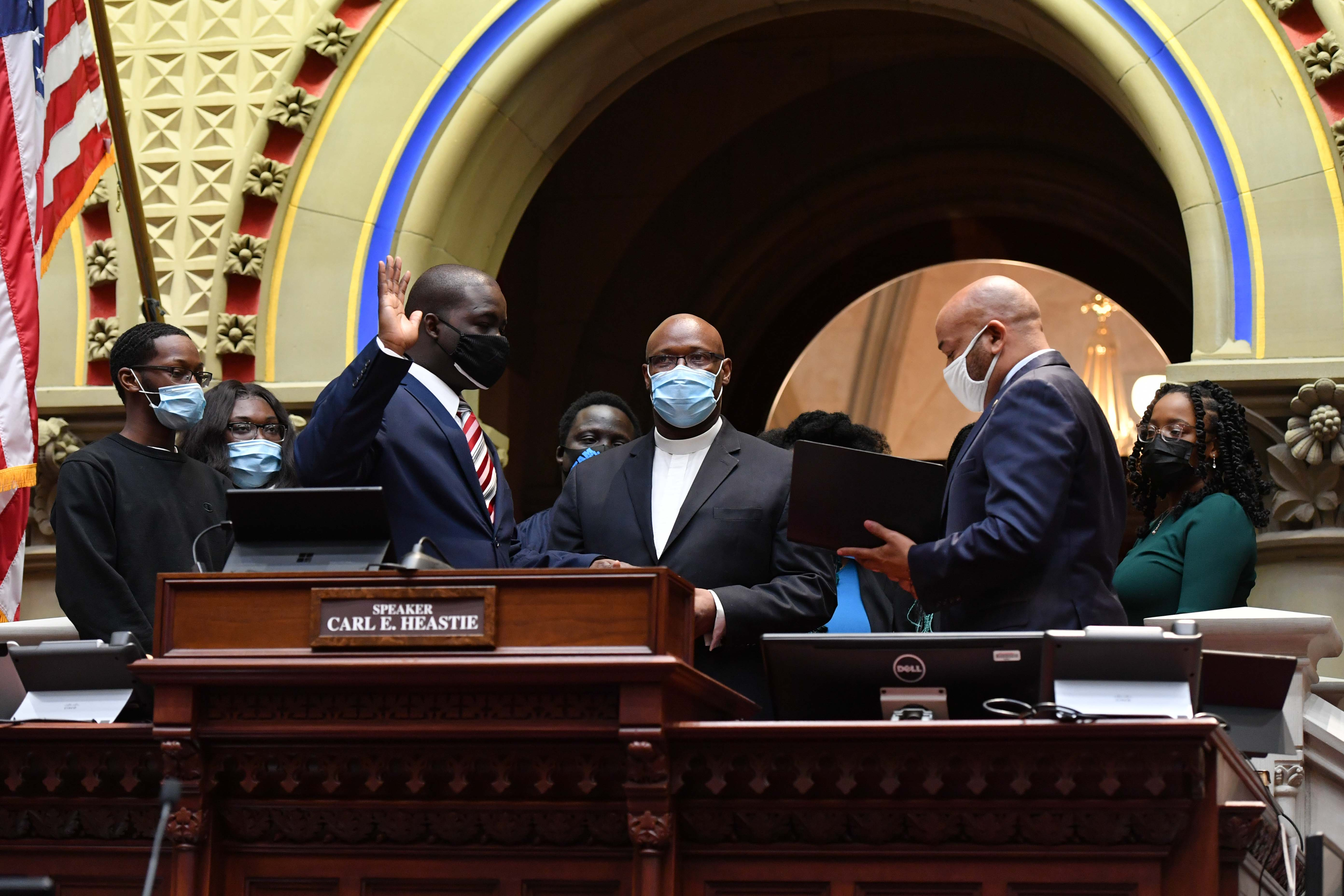 Speaker Carl Heastie swears in new Assemblymember Khaleel M. Anderson to represent the 31st AD
