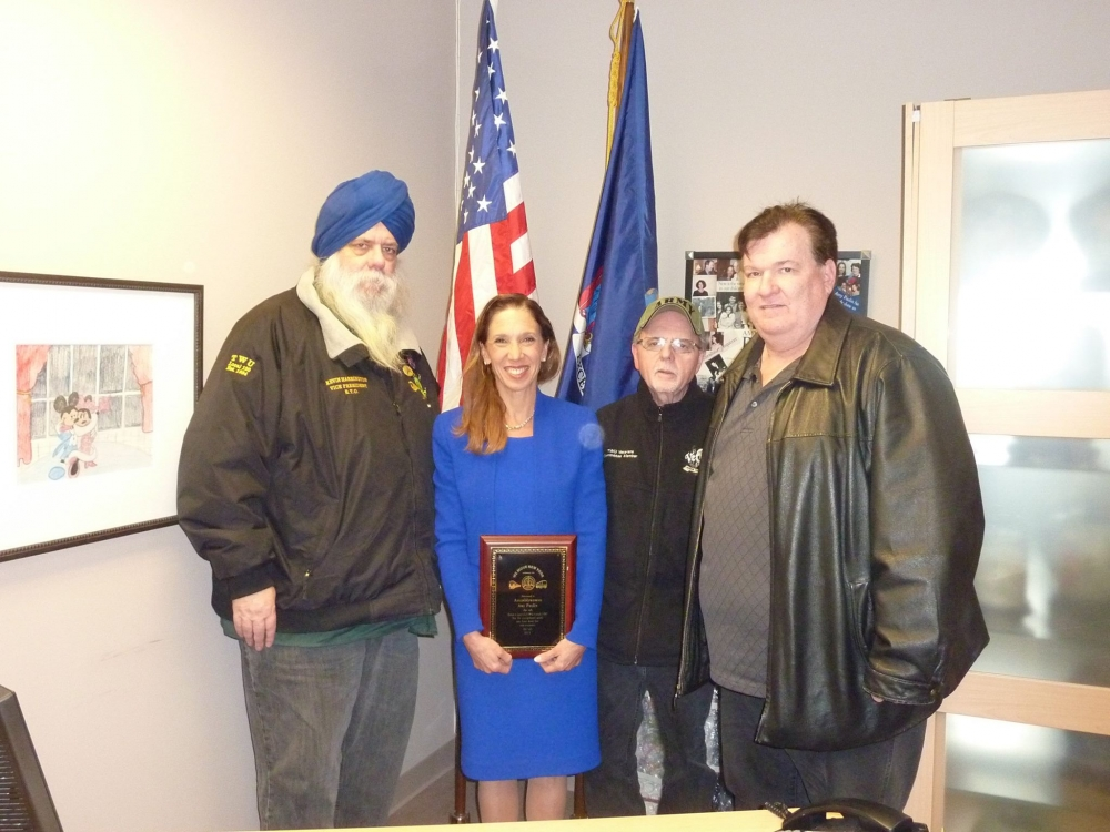 Assemblywoman Amy Paulin received an award from the Transit Worker's Union for all the work she has done in an effort to help veterans.