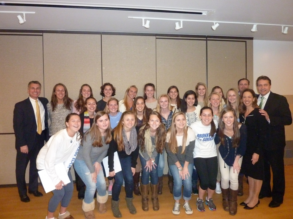 Amy Paulin and Westchester County Legislator Gordon Burrows handed out citations to the Bronxville High girls' soccer team on Jan. 5.