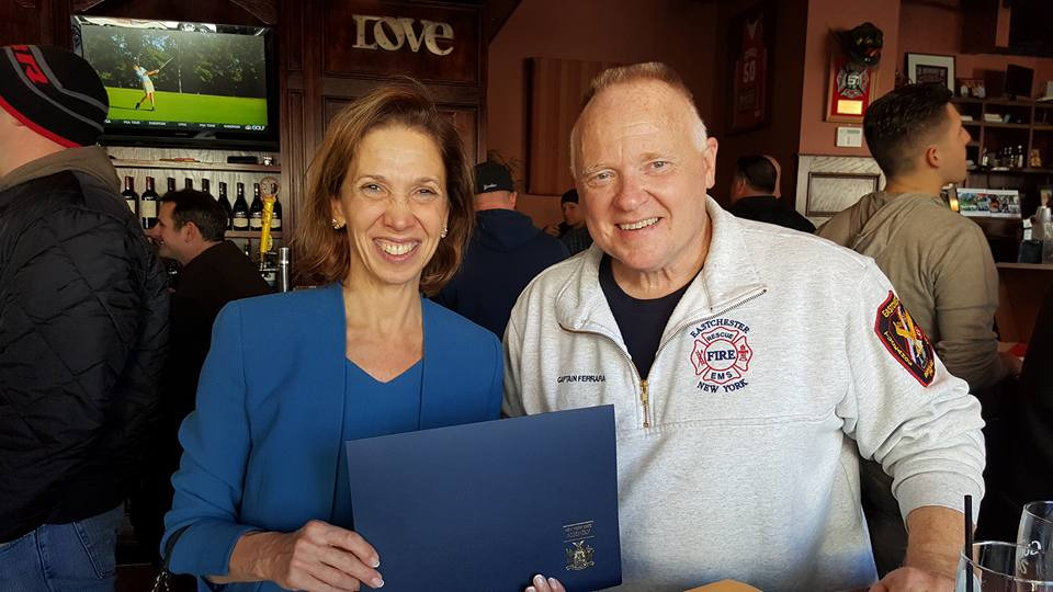 Assemblywoman Amy Paulin presented Captain Thomas Ferrara with a certificate from The State of New York commemorating his 35 years of service to the Eastchester Fire Department on Feb. 18.