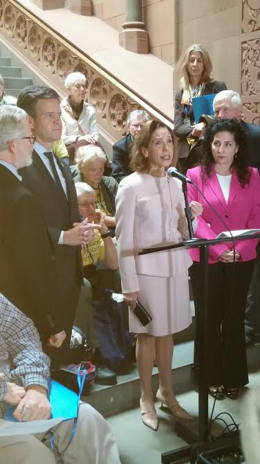 Assemblywoman Amy Paulin spoke at the Compassion & Choices press conference/rally on May 10 in Albany. She discussed her Aid in Dying Legislation.