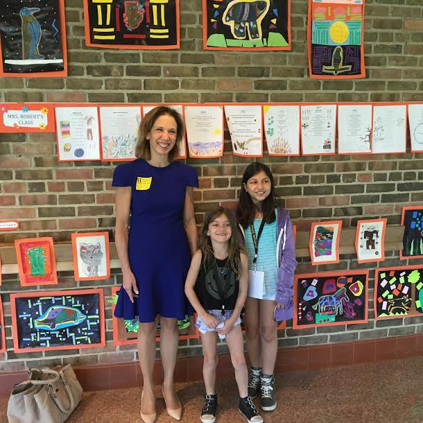 Assemblywoman Amy Paulin went to the Heathcote School in Scarsdale for a visit with the students. She met with Lucy Forest and Rania Palaniappan and they gave her a tour of the building. She also visi