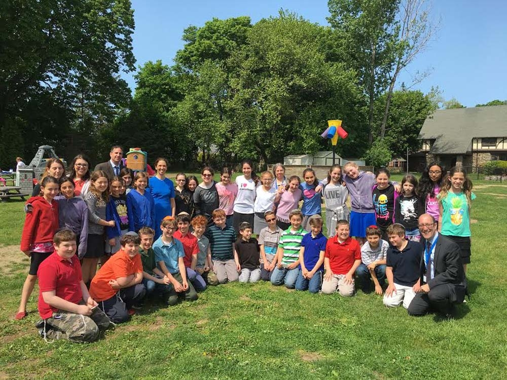 Assemblywoman Amy Paulin was at the Westchester Day School in Mamaroneck on May 20 to speak with the students about how state government works and listening to them explains their current projects.