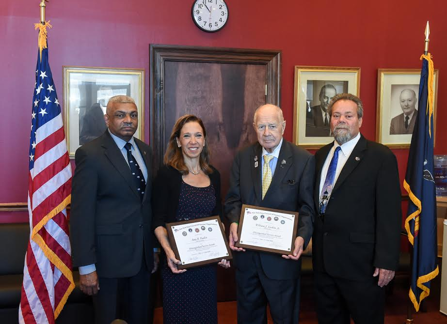 Assemblywoman Amy Paulin was presented with awards from the NYS Veterans Council and the PEF Veteran's Council for my work on the veteran's pension bill.