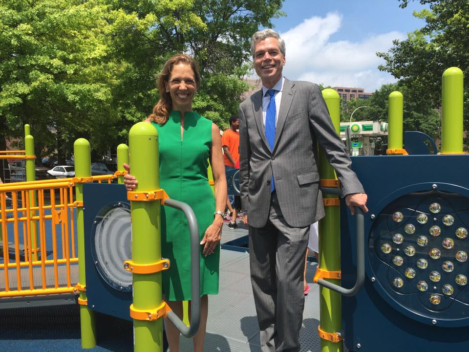 Assemblywoman Amy Paulin and White Plains mayor Tom Roach at the ribbon-cutting ceremony for the new playground in the city's Kittrell Park. Paulin helped secure some of the funding to rebuild th