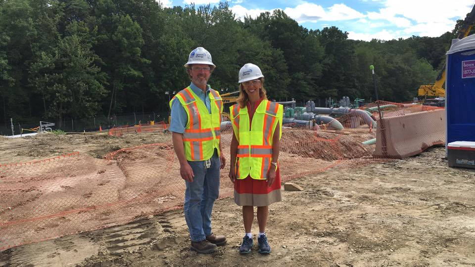 Assemblywoman Amy Paulin, who is the New York State Energy Committee Chair, toured the Spectra natural gas compression site in Southeast on Aug. 17.Here she is in front of the suction and discharge pi