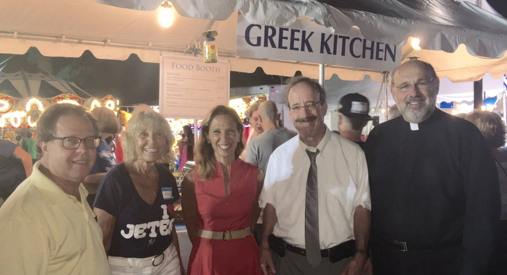 Assemblywoman Amy Paulin attended the Greek Festival at The Holy Trinity Greek Orthodox Church in New Rochelle. Here she is with fellow Assembly member Tom Abinanti, Congressman Eliot and Father Nick.