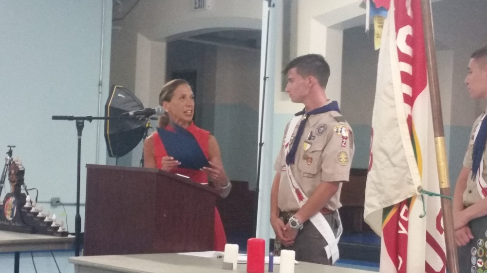 Assemblywoman Amy Paulin helped honor Matthew Taylor as he earned the rank of Eagle Scout.