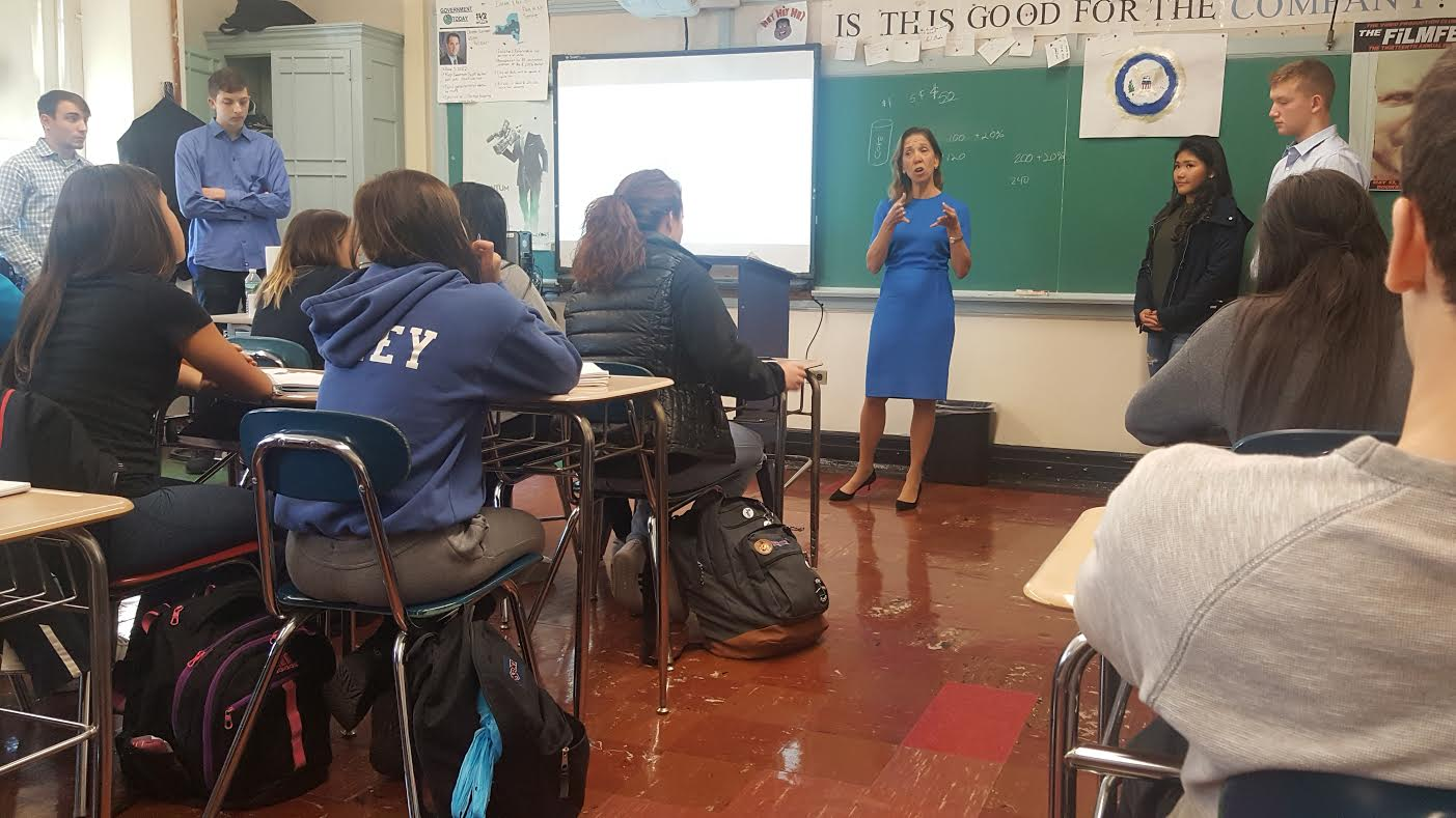 Assemblywoman Amy Paulin visited Eastchester High School and hosted a discussion in the government and economics class.