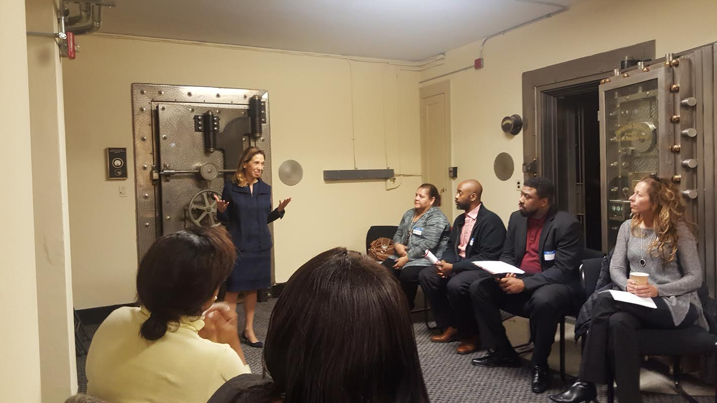 Assemblywoman Amy Paulin spoke at the Community Advisory Breakfast hosted by the Junior League of Bronxville. The breakfast took place at The People's United Bank and Paulin spoke in the vault ab