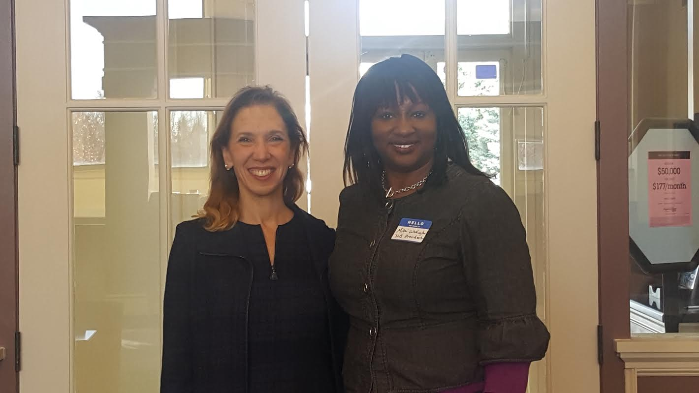 Assemblywoman Amy Paulin with Mitzi Washington, president of The Junior League of Bronxville, at the Community Advisory Board Breakfast.