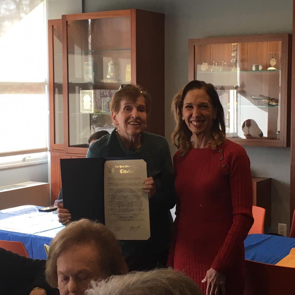 Assemblywoman Amy Paulin stopped by Temple Israel in New Rochelle to help celebrate Barbara Kantor's retirement. She has worked at the temple for 24 years and Amy presented her with a citation.