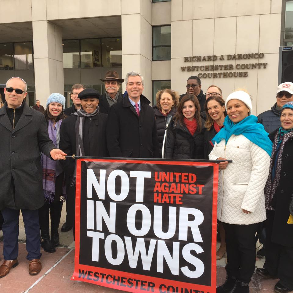 Assemblywoman Amy Paulin went to the United Against Hate rally. The rally was held in White Plains, next to the statue of Martin Luther King. Paulin was joined by White Plains mayor Tom Roach and many