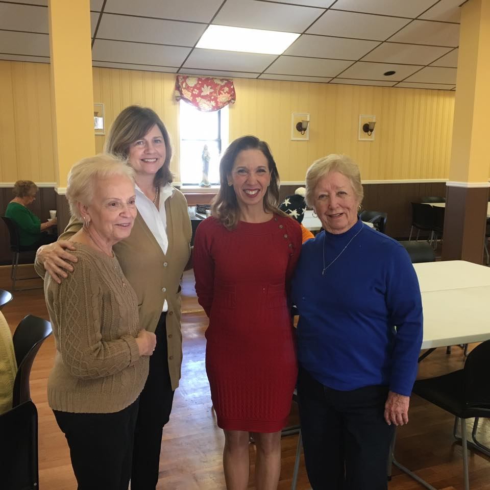 Assemblywoman Amy Paulin handed out holiday cookies at Father Fata Hall to the Tuckahoe Seniors group.