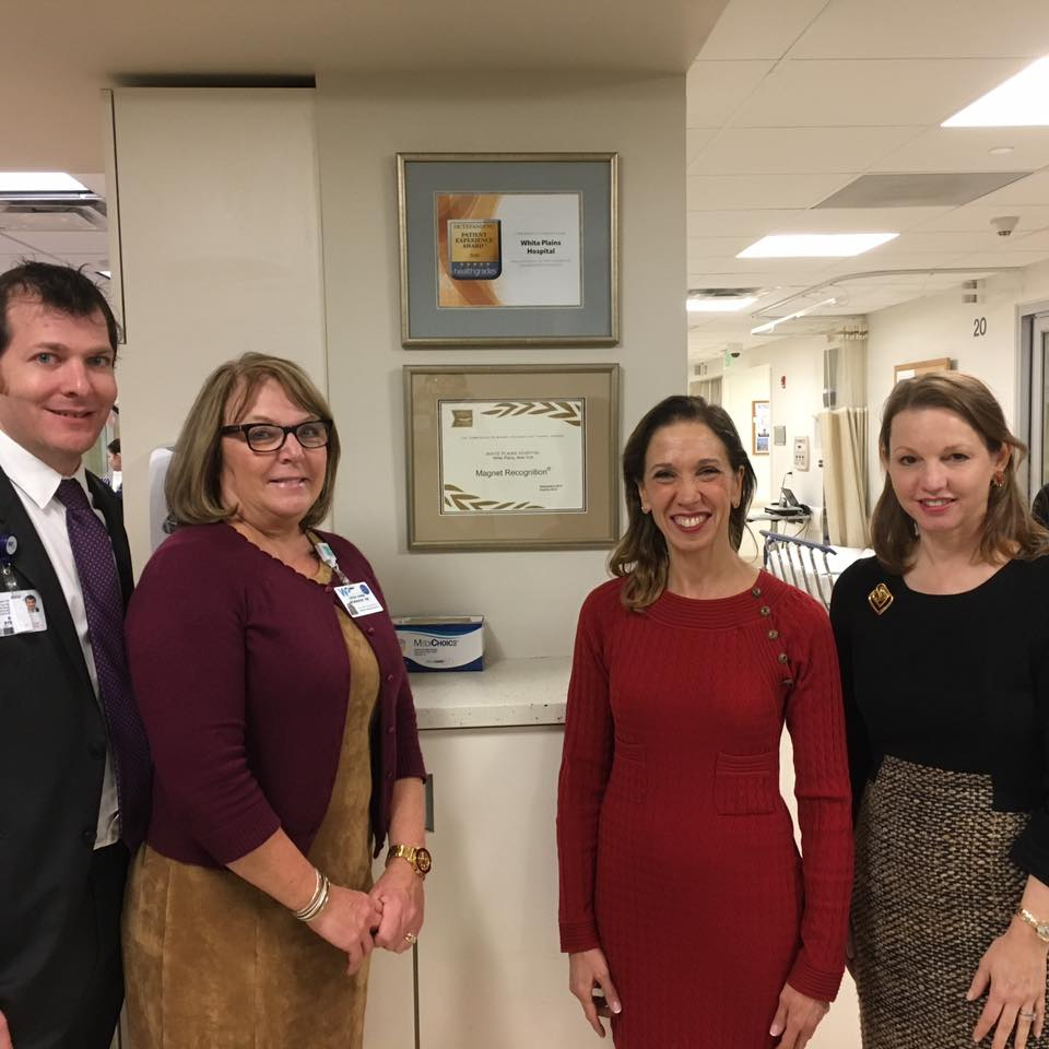 Assemblywoman Amy Paulin toured White Plains Hospital, which was recently named as a Magnet hospital. She visited several departments in the hospital, including the NICU, and discussed the state of he