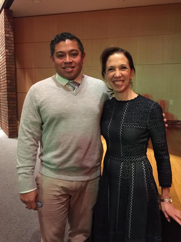 Assemblywoman Amy Paulin with New Rochelle boys soccer coach Jarohan Garcia following the ceremony honoring his state championship team.