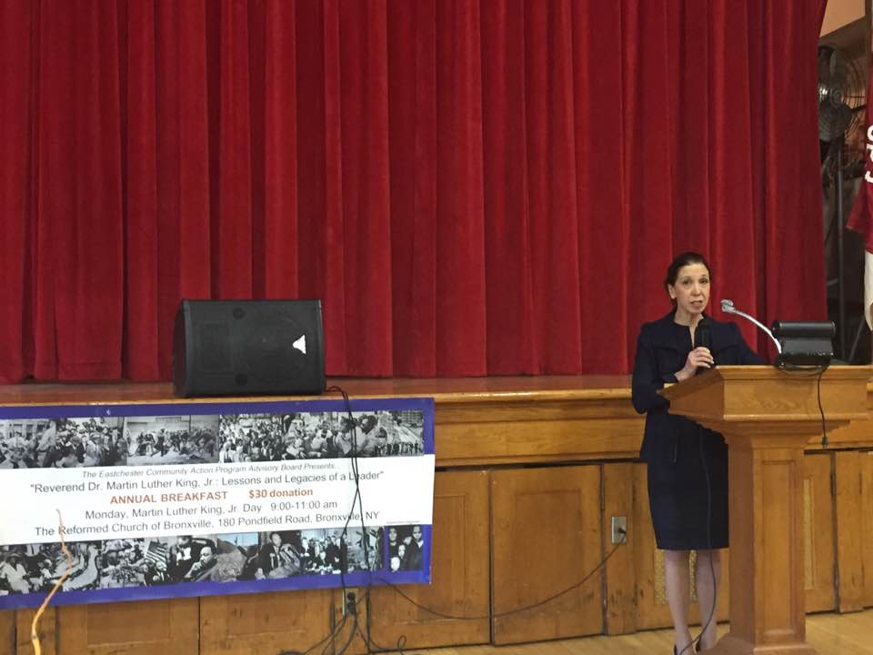 Assemblywoman Amy Paulin spoke at the annual Martin Luther King Breakfast at the Reformed Church of Bronxville.
