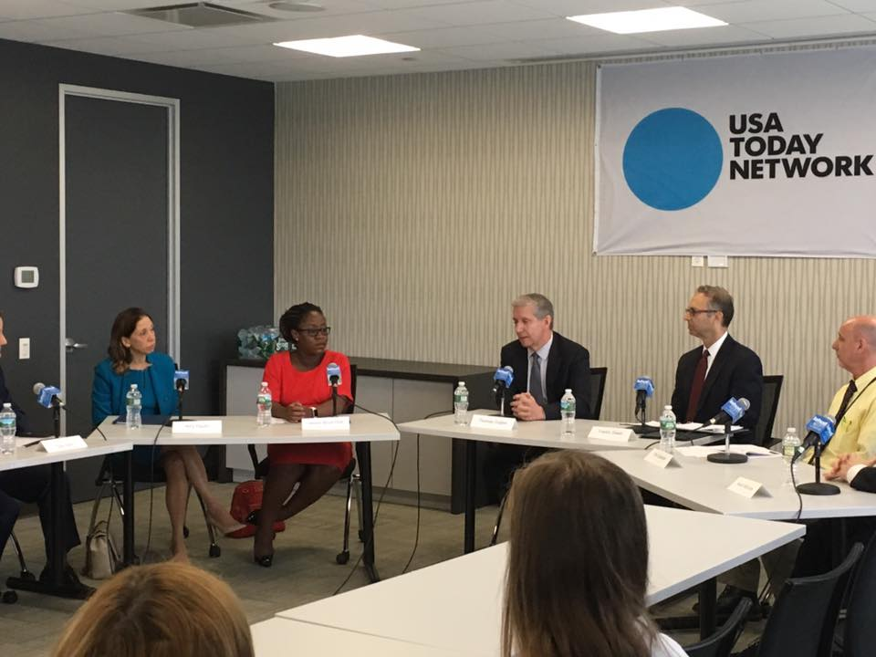 Assemblywoman Amy Paulin at The Journal News office in White Plains took part in a panel discussion on human sex trafficking in New York. Part of the discussion centered on legislation she have author