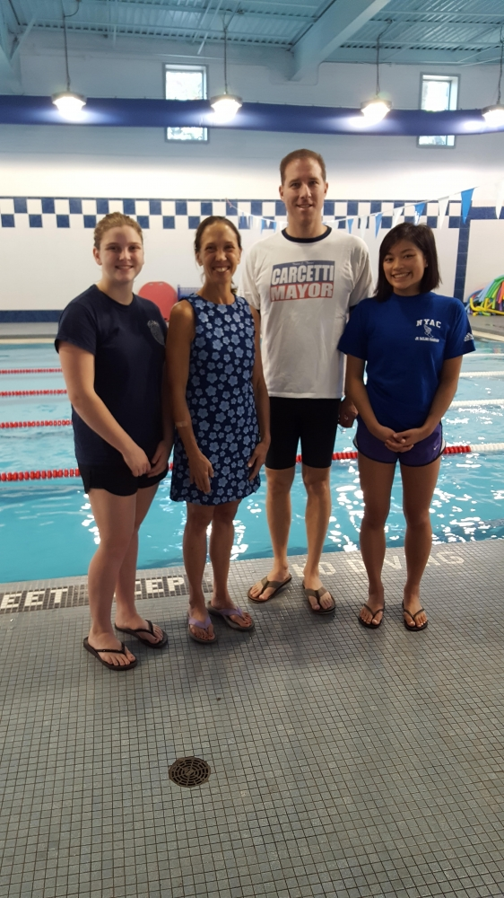 Assemblywoman Amy Pauling participated in The REALLY BIG RELAY on Sept. 23 at The YMCA pool in New Rochelle. She teamed up with Jennifer Bell and Olivia Ting from the Pelham High swim team and Matt Ja