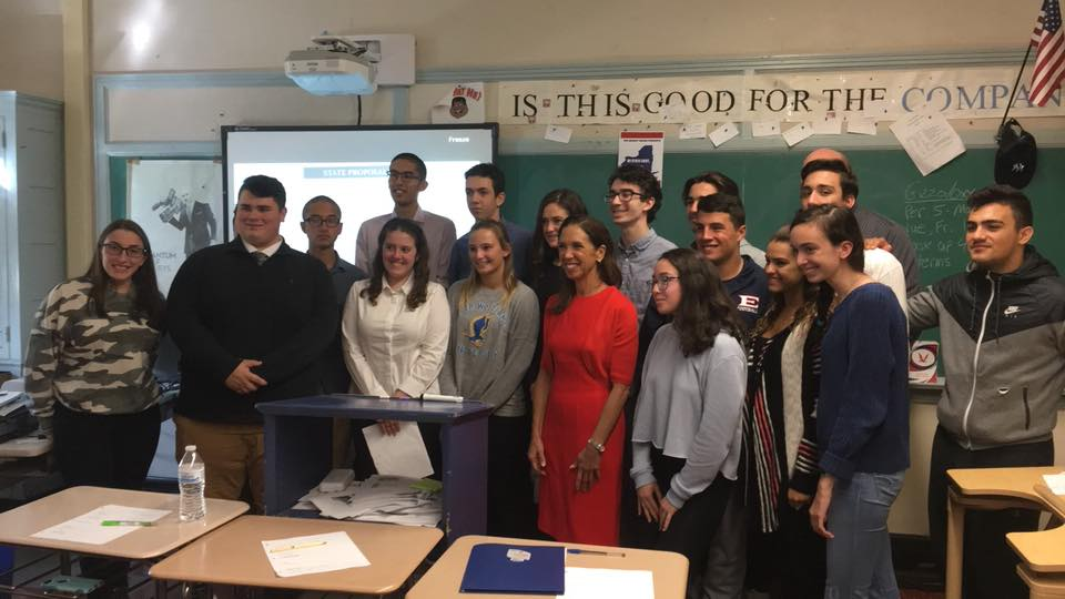 Assemblywoman Amy Paulin spoke to a class at Eastchester High School about state government, how it operates and her role in it.