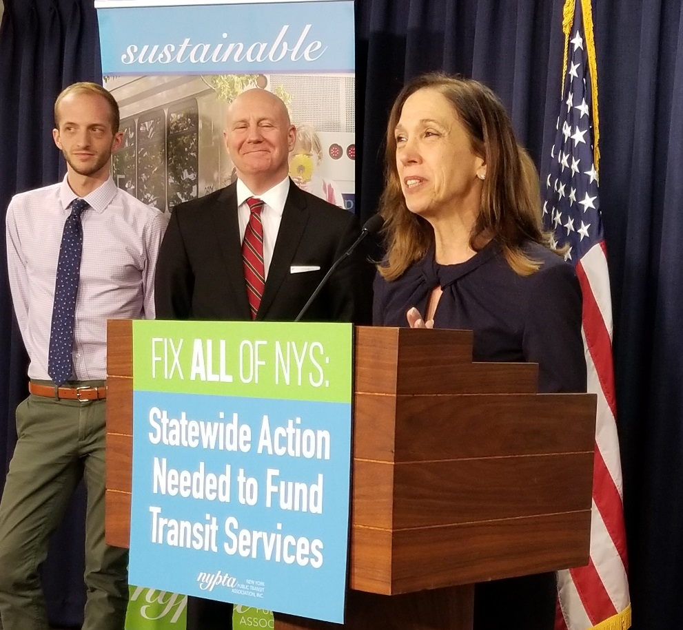 As Chair of the Committee on Corporations, Authorities, and Commissions, Assemblymember Amy Paulin calls for comprehensive funding for mass transit solutions with spokespeople from the New York Public