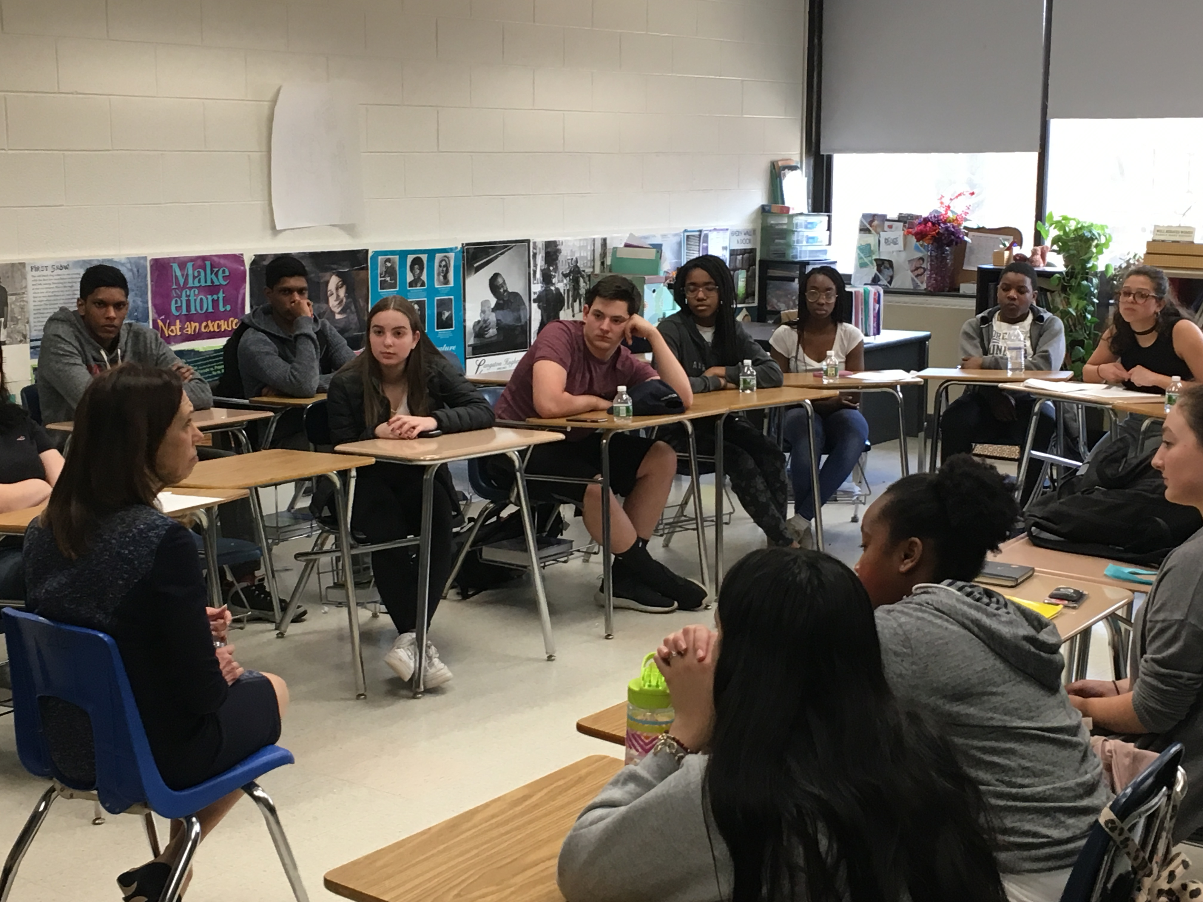 Assemblymember Amy Paulin met with the members of the FEMpowerMENT Club at New Rochelle High School on April 11, 2018 to discuss how she first decided to run for office, the barriers women legislators