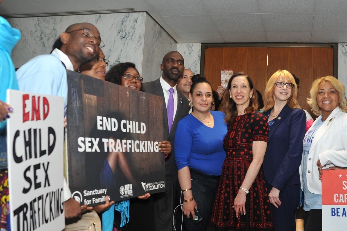 Assemblymember Amy Paulin joins fellow legislators and anti-human trafficking advocates at a press conference in support of the End Child Sex Trafficking Act, of which she is the primary sponsor.