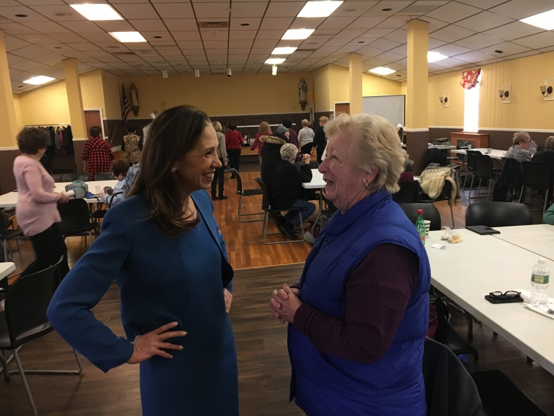 Amy Paulin visits seniors and brings cookies in Tuckahoe.