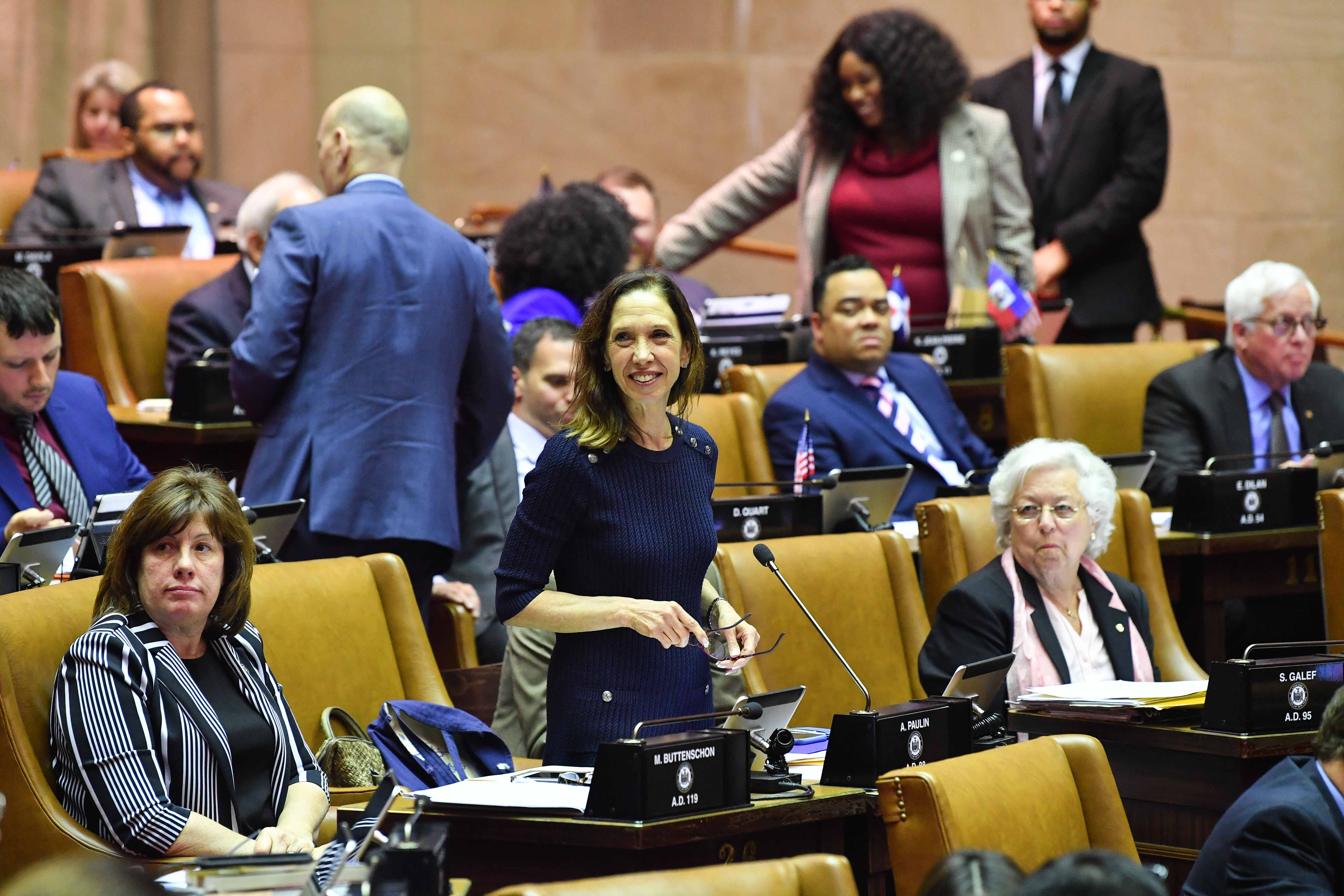 Amy Paulin during a debate on the floor of the New York State Assembly.