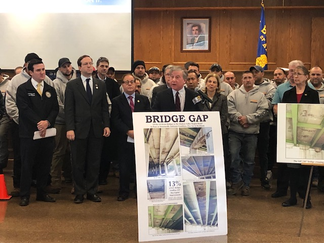Assemblyman Otis with Assembly and Senate colleagues at the Rebuild NY press conference on January 17th, 2020 at the Teamsters Local 456 in Elmsford to advocate for increased state investment in roads