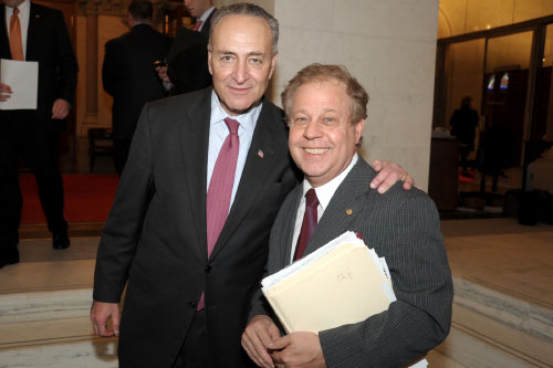 Assemblyman Abinanti meeting with U.S. Senator Charles �Chuck� Schumer outside the Assembly Chamber. Assemblymember Abinanti formerly served as assembly staff when Schumer was with the NYS Assembly.