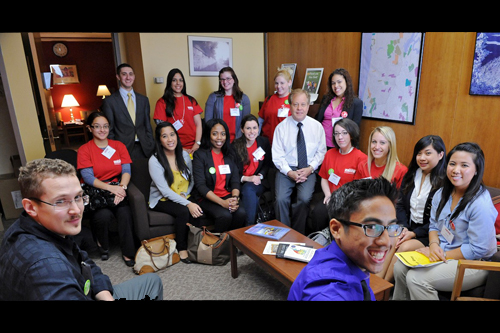 Assemblyman Abinanti along with staff intern Richard Stein (top left) meets with nursing students from the College of Mount St. Vincent from Riverdale, Bronx, NY.