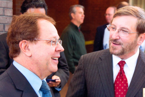 Assemblyman Abinanti and Robert W. Amler, M.D., Dean of New York Medical College, discuss economic development and other New York Medical College issues.