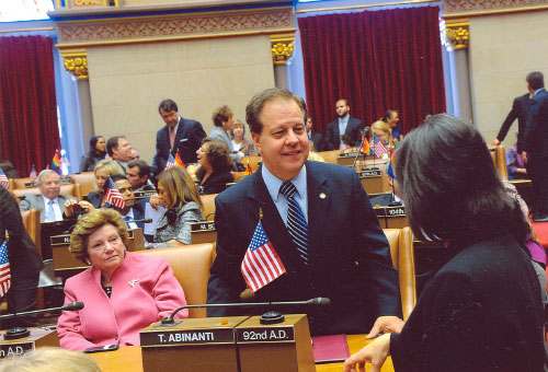 February 2011 - Assemblyman Abinanti working with other legislators in the Assembly Chamber.