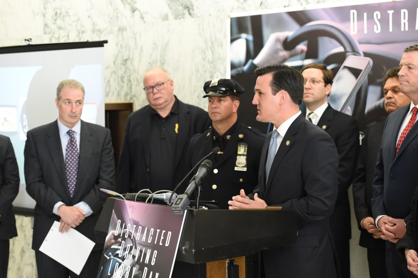 Assemblyman Kevin Byrne (R,C,I,Ref-Mahopac) offered remarks in support of legislation aimed to reduce the threat of distracted driving at a press conference in Albany on Monday, April 24.<br />