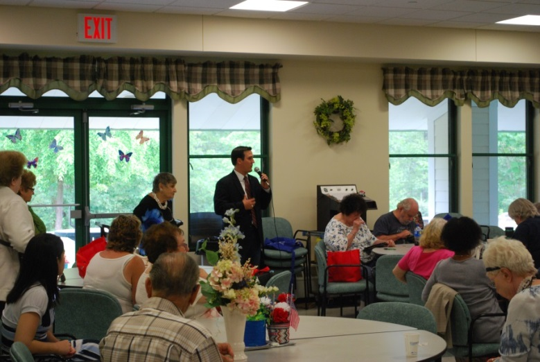Assemblyman Kevin Byrne (R,C,I,Ref-Mahopac) addresses attendees of the Putnam Valley Senior Health Fair. The free event was held on July 12 at the Putnam Valley Senior Center.<br />