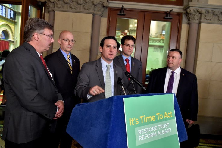 Assemblyman Kevin Byrne joined lawmakers in calling for ethics reform measures to be taken up before the conclusion of this year&rsquo;s legislative session at a press conference in Albany on Wednesday, June 13.<br />&nbsp;