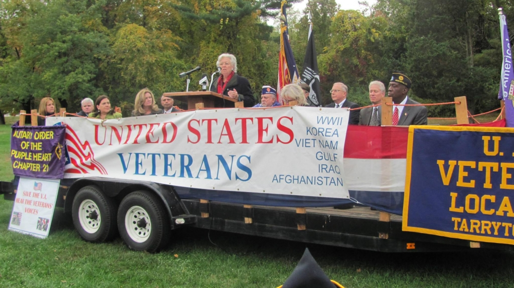Sandy attended and participated in a rally to protect and increase veteran services at the VA campus in Montrose.