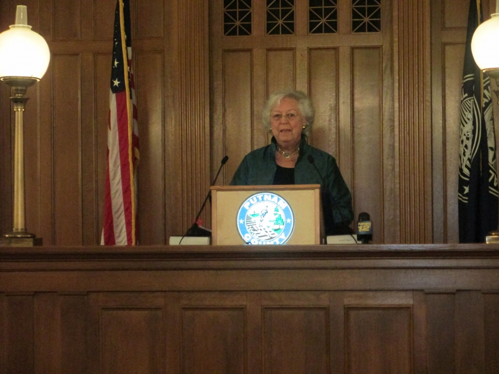 Sandy gives an address at the Putnam County Swearing-In Ceremony in January, 2015.<br />