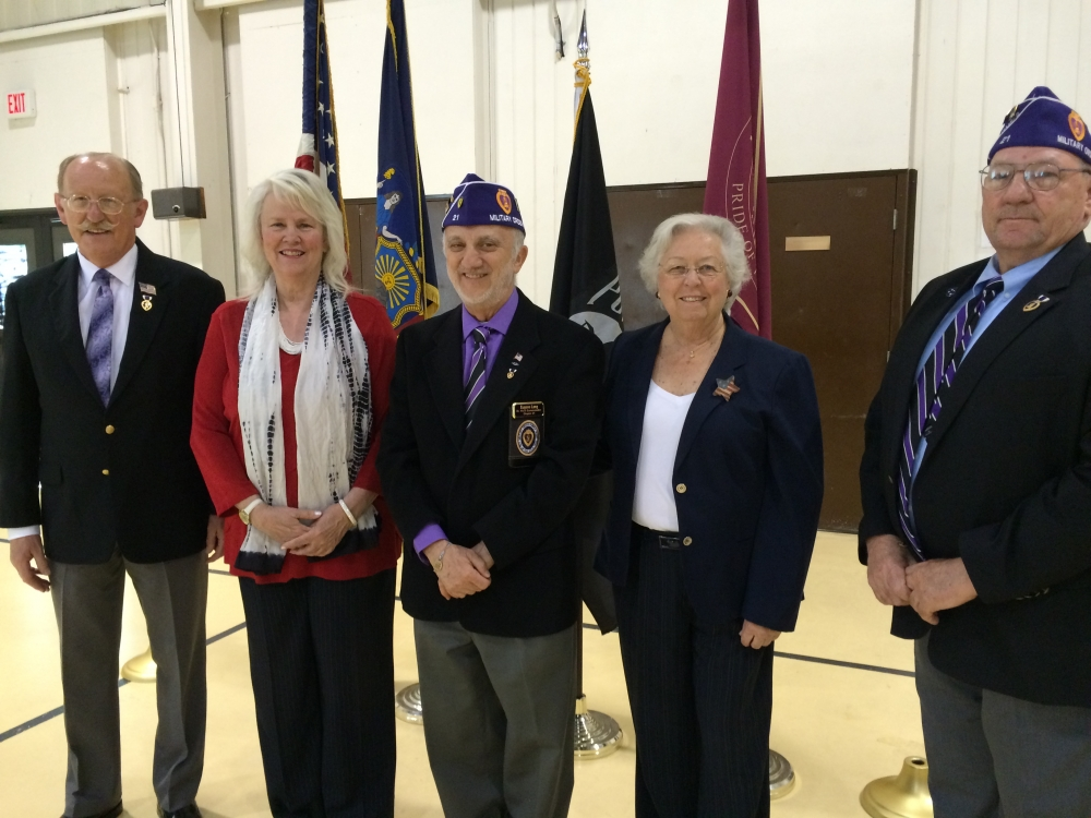 Sandy and Town of Cortlandt Supervisor Linda Puglisi honor veterans at a Memorial Day event in Cortlandt.<br />