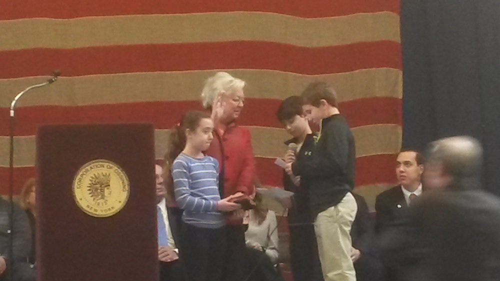 In 2015, Sandy was sworn in by her grandchildren in Ossining.<br />