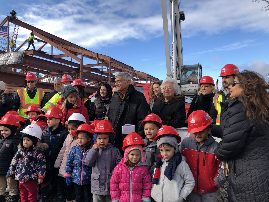 Sandy attended the Topping Off ceremony with children, staff, and supporters of the Ossining Children's Center.