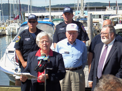 Sandy talks about the importance of Boating Safety legislation at the Ossining waterfront.
