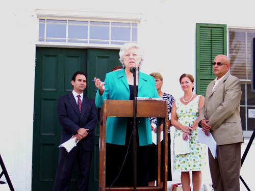 Sandy on the steps of the historic Putnam County Courthouse with other elected officials from Putnam regarding state legislation to help the county.
