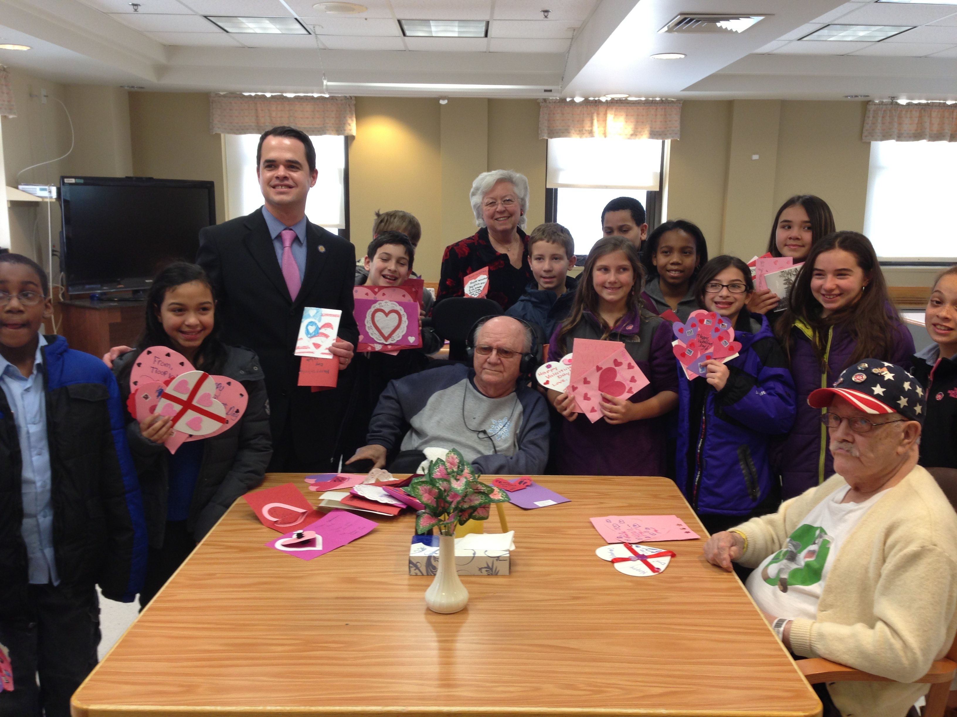 Sandy is joined by Senator David Carlucci at the Montrose VA hospital with Ossining 5th graders to deliver Valentines to Veterans