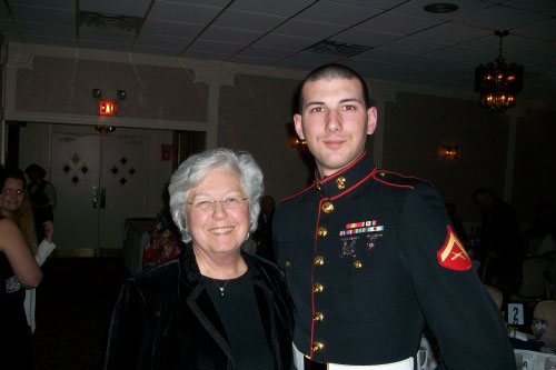 US Marine Greg Matera joins Sandy at the Putnam Valley Firefighter Dinner.